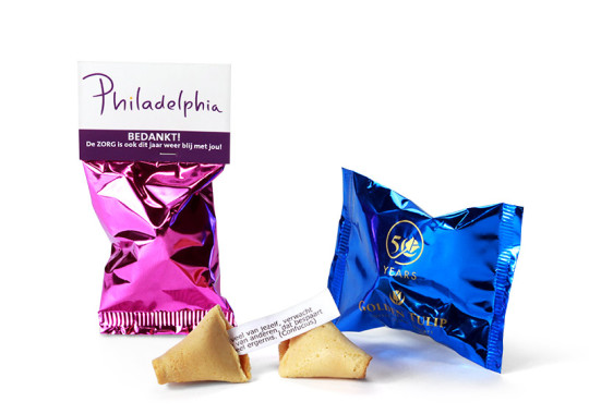 Fortune Cookies with logo and carton topcard